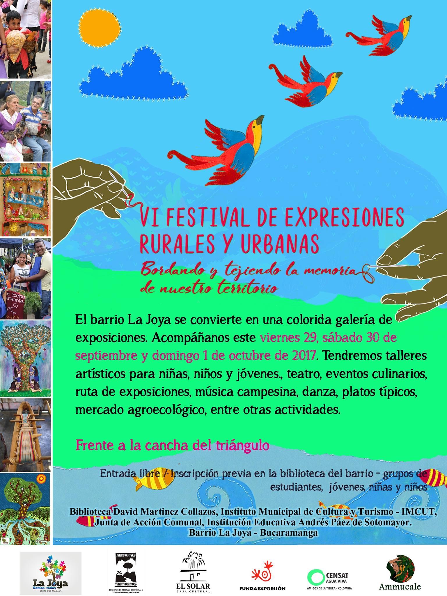 Gráfica alusiva a VI Festival de expresiones rurales y urbanas. Bordando y tejiendo la memoria en nuestro territorio