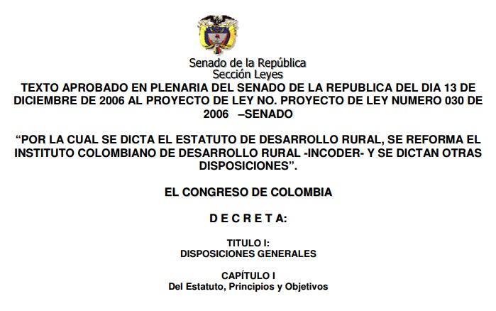 Gráfica alusiva a Boletín No. 5 Ley de Desarrollo Rural