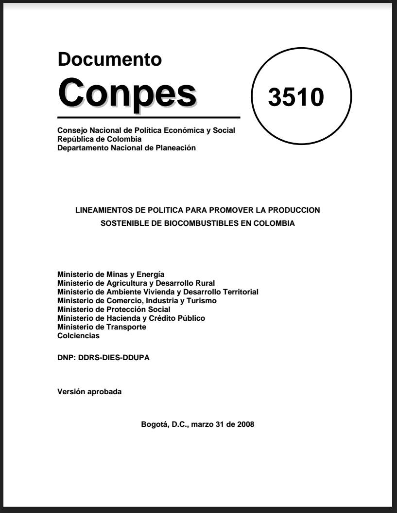 Gráfica alusiva a Lineamientos de política para promover la producción sostenible de biocombustibles en Colombia