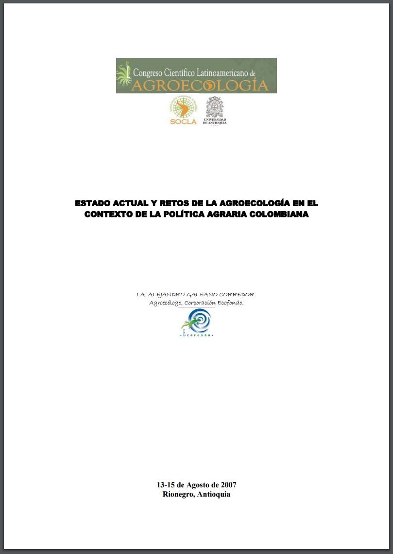 Gráfica alusiva a Estado actual y retos de la agroecología colombiana
