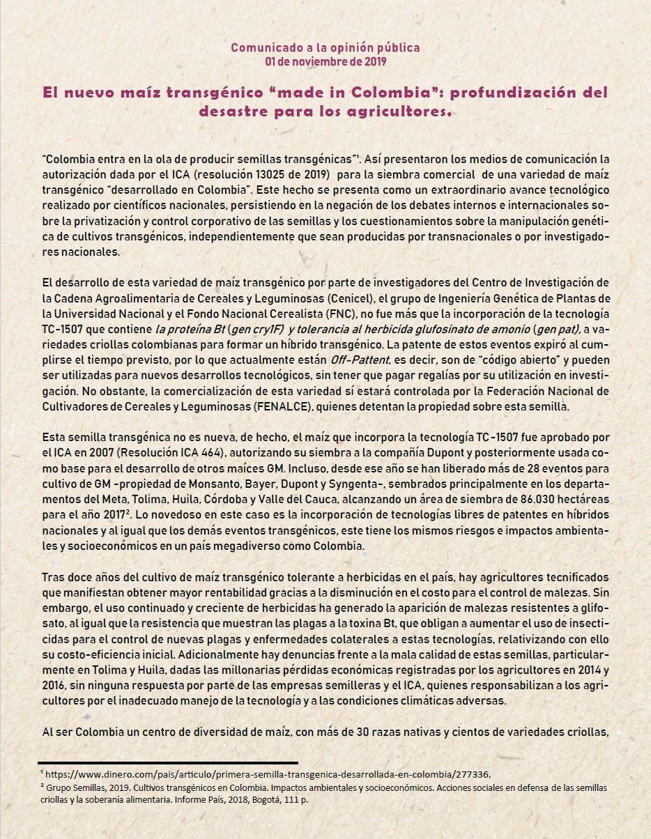 """Imagen relacionada con Comunicado a la opinión pública. El nuevo maíz transgénico """"made in Colombia"""": profundización del  desastre para los agricultores."""