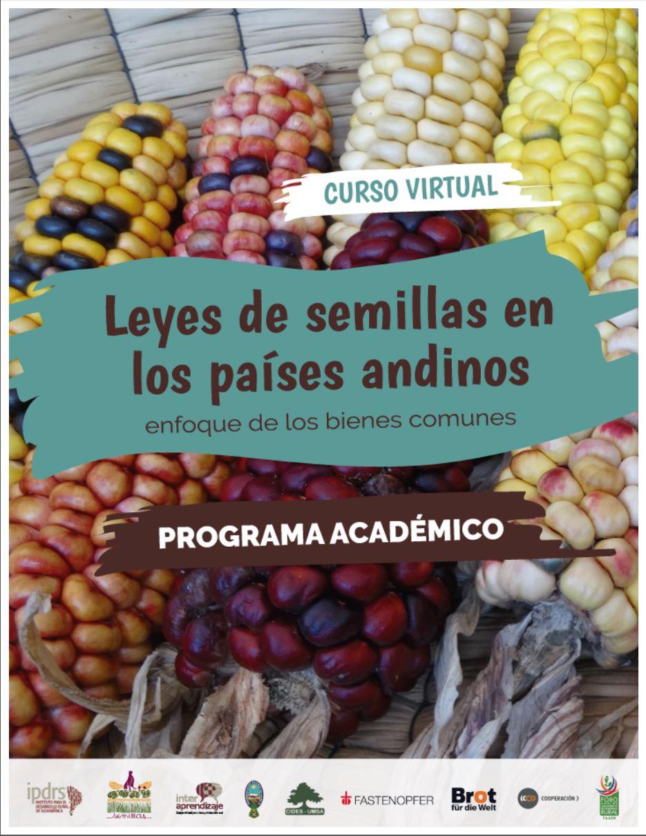 """Imagen relacionada con Programa Curso Virtual """"Leyes de semillas en los países andinos, enfoque de los bienes comunes""""."""