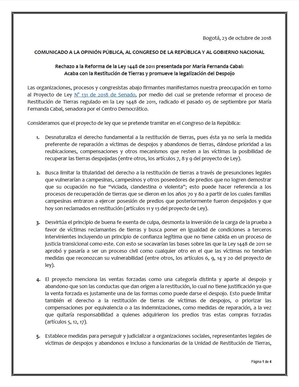 """Imagen relacionada con El proyecto de ley 003 de 2018 """"Nueva Ley de Tierras"""": Un nuevo golpe contra el campesinado, los pueblos indígenas y afrocolombianos"""