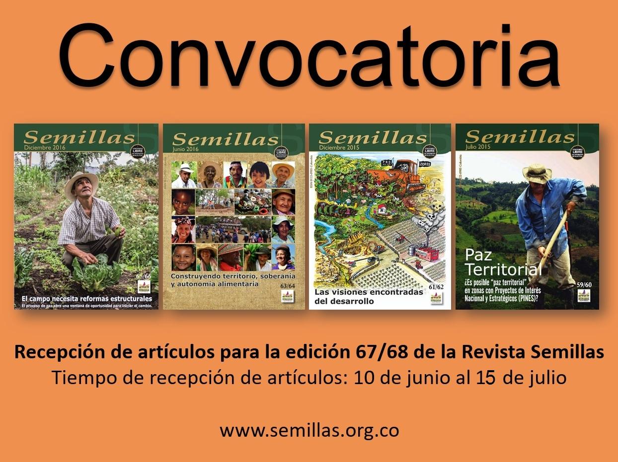 Gráfica alusiva a Convocatoria. Recepción de artículos para la edición 67/68 de la Revista Semillas