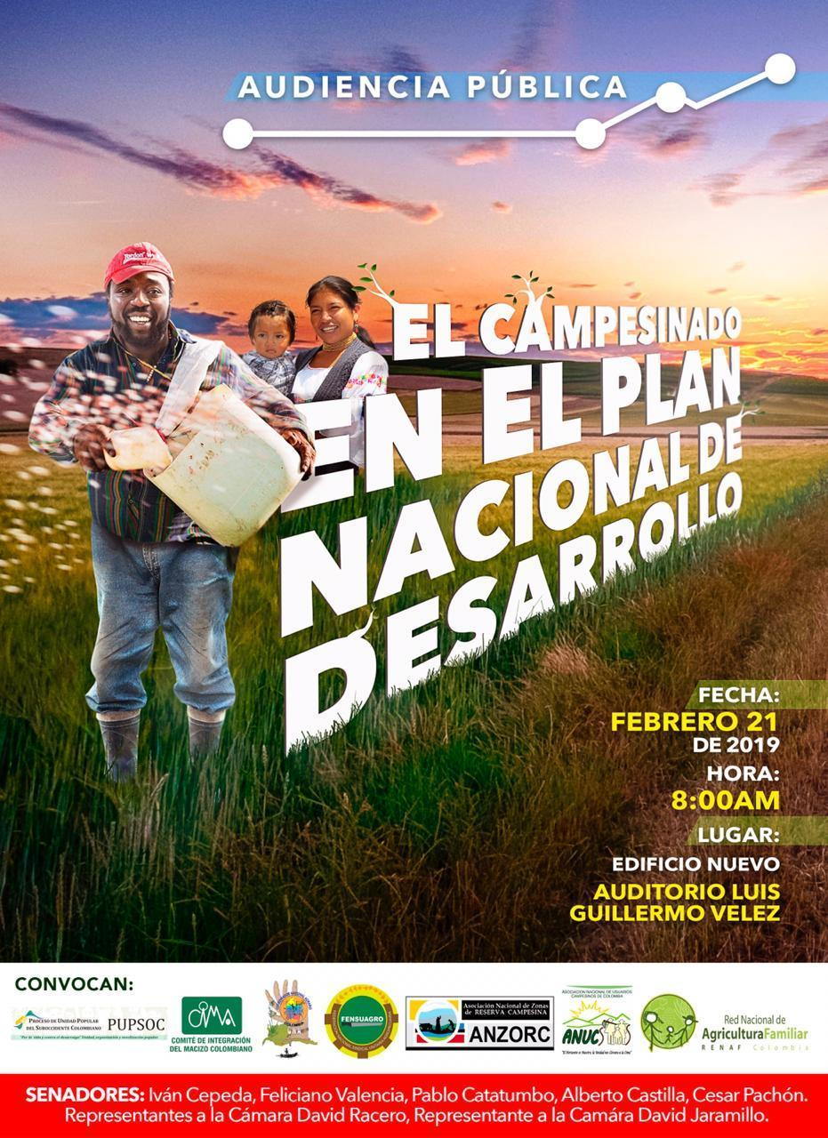 Grafica alusiva a Audiencia Pública: El Campesinado en el Plan Nacional de Desarrollo.